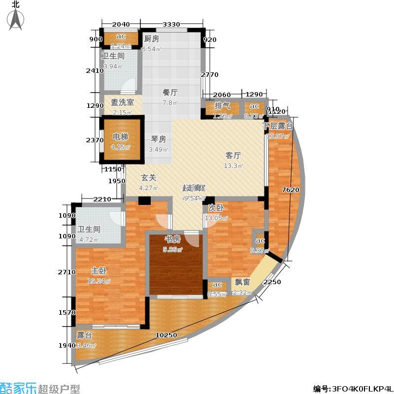 中凯东方红街133.51㎡四期3-E面积13351m户型