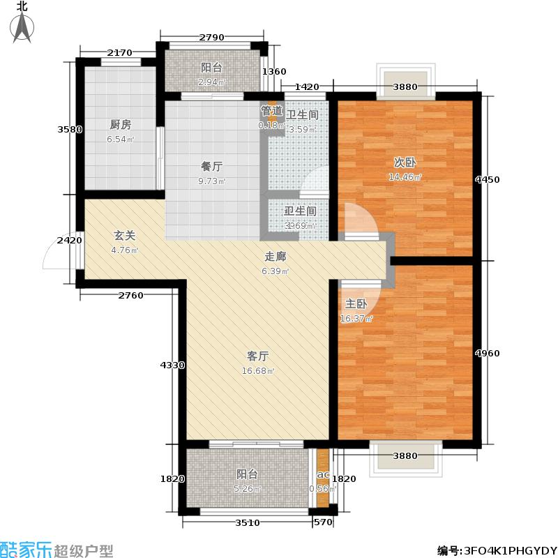 海韵茗庭105.00㎡A1户型2室2厅