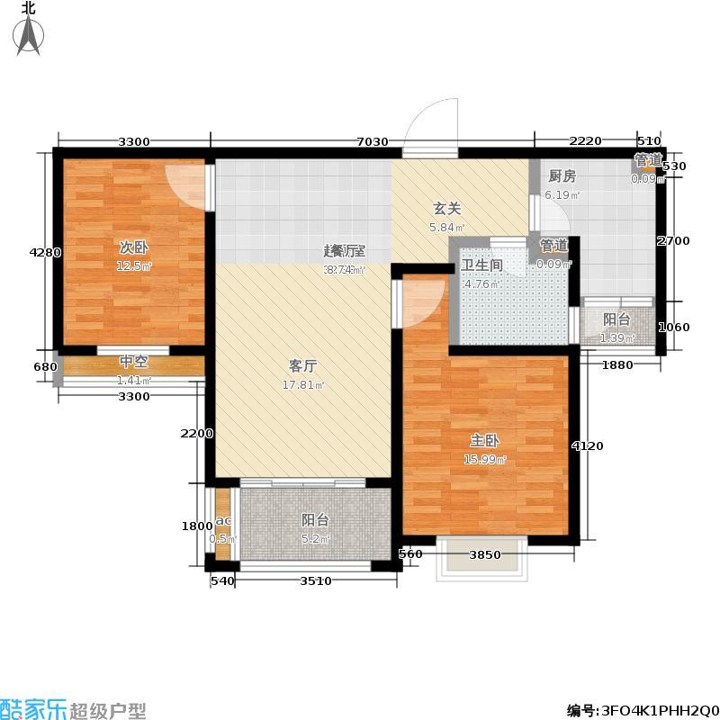 海韵茗庭95.00㎡A2户型2室2厅
