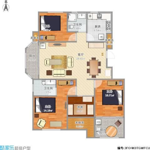 绿地世纪城4室1厅2卫1厨131.00㎡户型图