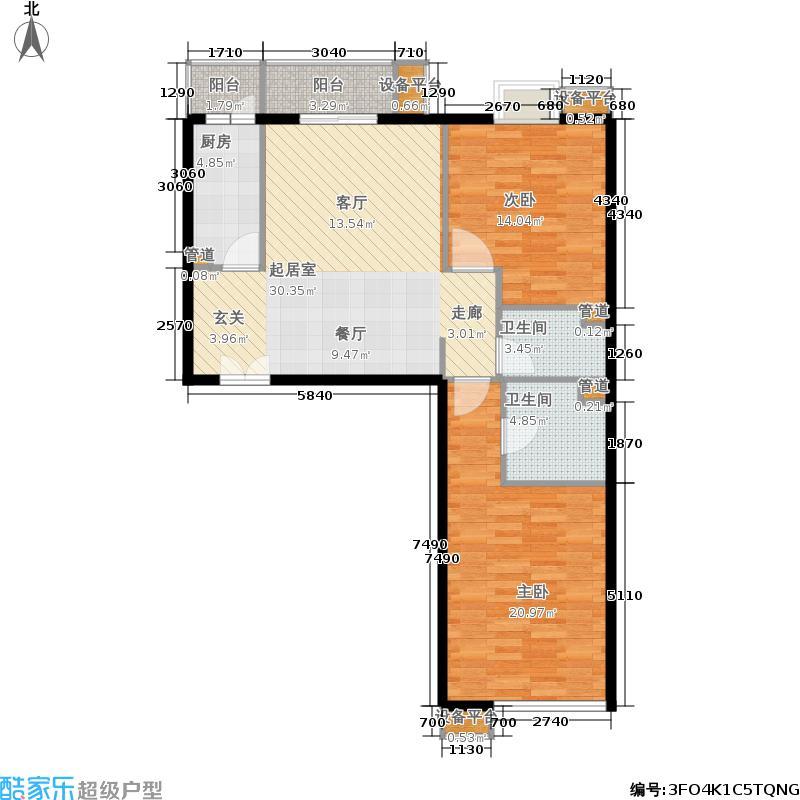 东恒时代一期C区2号楼E户户型