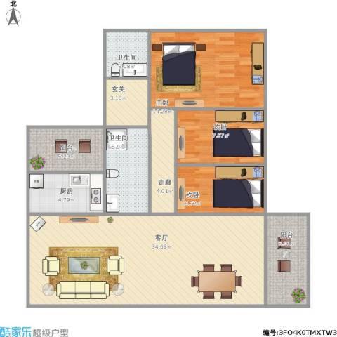 健康花城3室1厅2卫1厨129.00㎡户型图