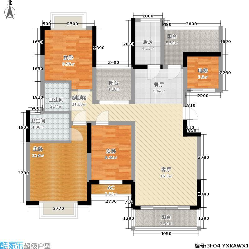太平洋国际123.06㎡6栋B座03单元3室户型