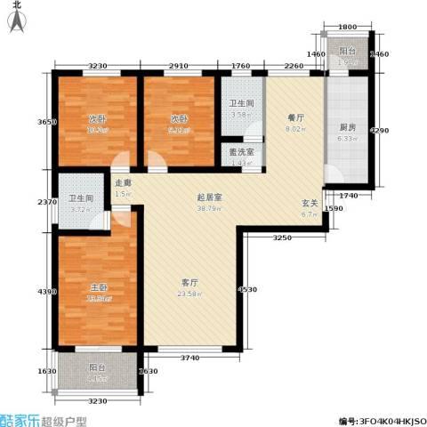 大通君澜3室0厅2卫1厨107.00㎡户型图