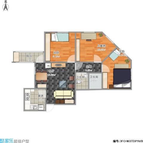 八宝庄3室1厅2卫1厨81.00㎡户型图