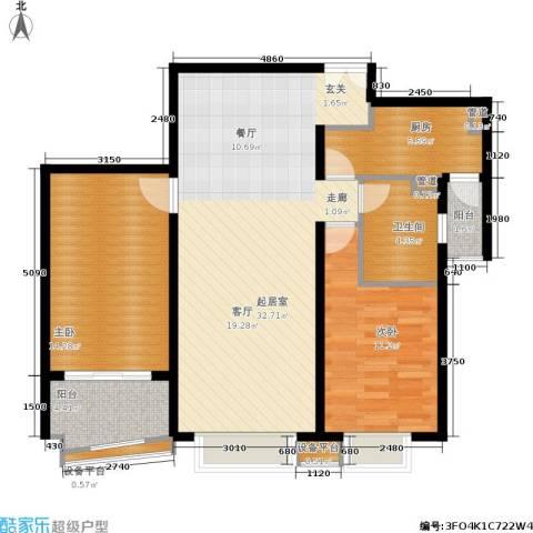 清枫华景园2室0厅1卫1厨107.00㎡户型图