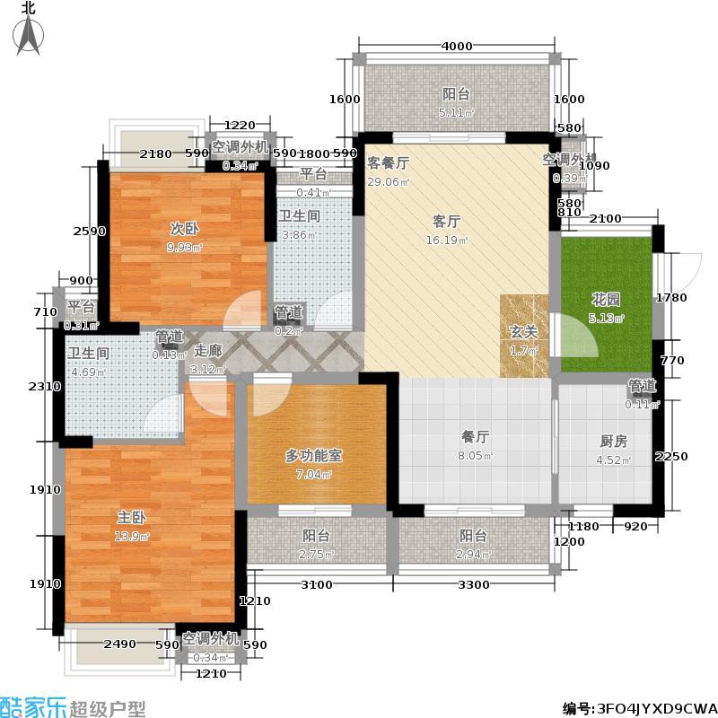 豪进山湖珺璟122.67㎡豪进山湖��花园洋房1、2栋01、03单元3室户型