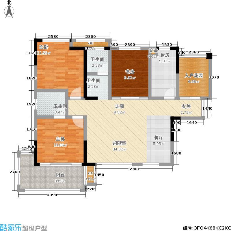 鑫远和城115.01㎡G2户型 三房两厅两卫户型3室2厅2卫
