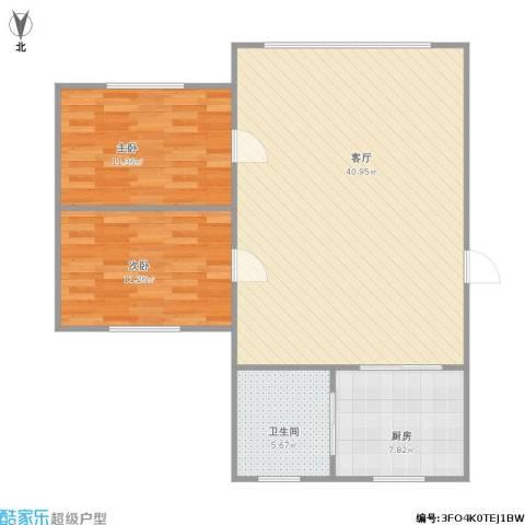 天福新城2室1厅1卫1厨102.00㎡户型图