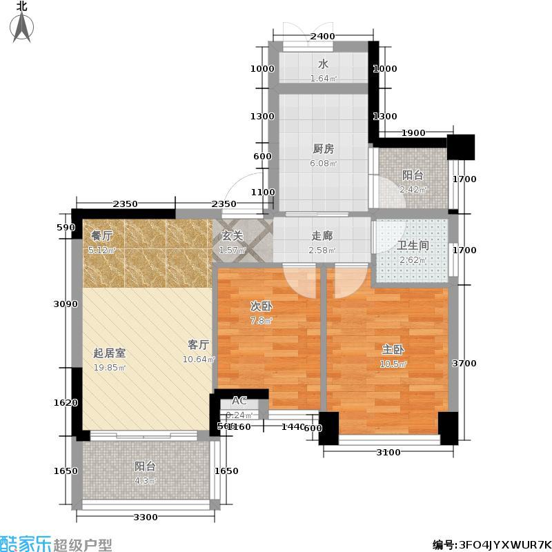 碧桂园山湖城68.00㎡碧桂园・山湖城二期J388C平面图户型