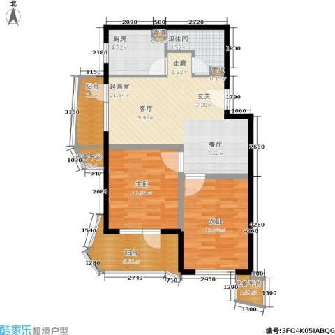 山海同湾2室0厅1卫1厨89.00㎡户型图