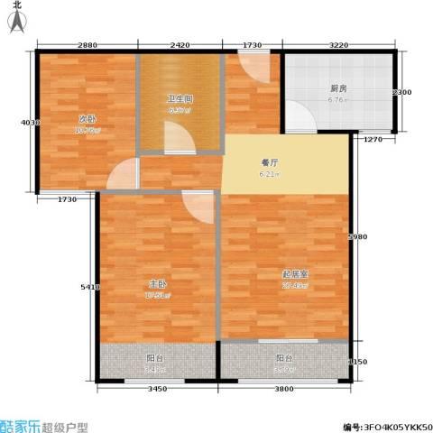 通州万达广场2室0厅1卫1厨78.00㎡户型图