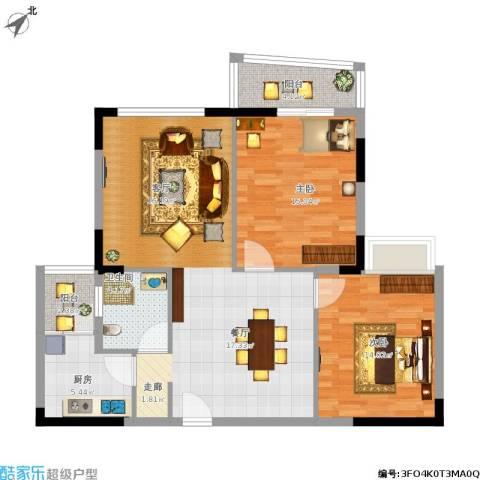 汉口春天(三期)2室1厅1卫1厨112.00㎡户型图