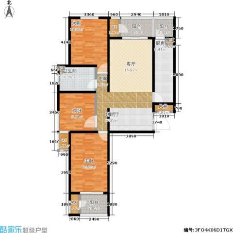 北京自在城3室1厅1卫1厨117.00㎡户型图