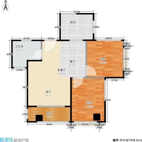 东华・星域2室1厅1卫1厨77.00㎡户型图