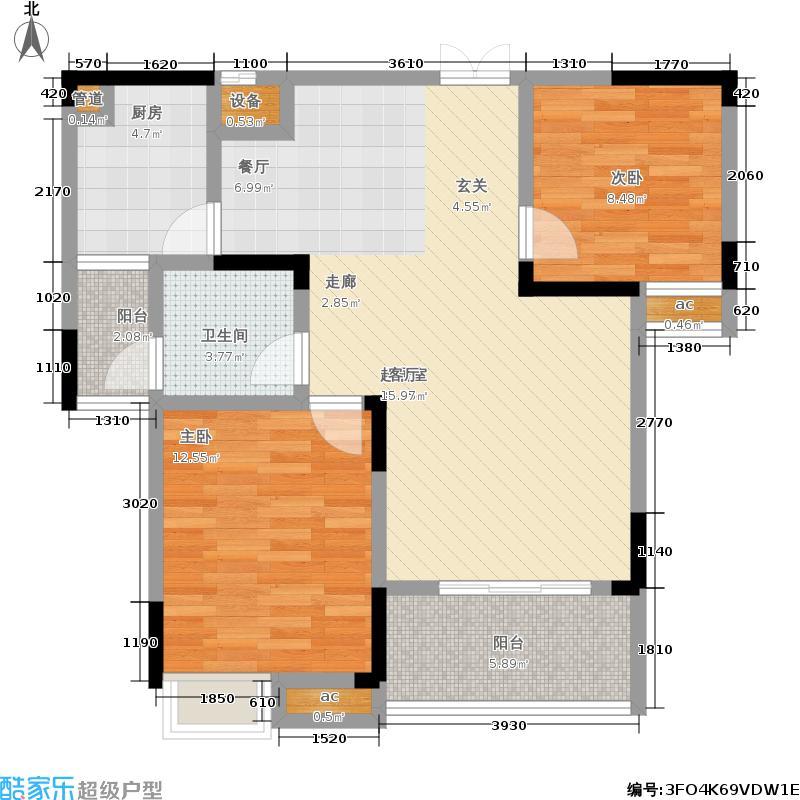兴汝金城86.91㎡祥麟阁B户型 两房两厅一卫户型2室2厅1卫