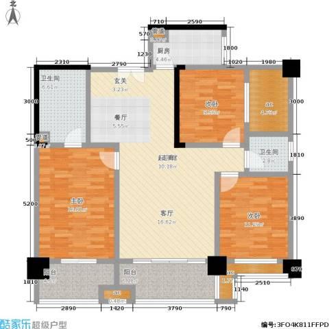 香颂国际3室0厅2卫1厨134.00㎡户型图