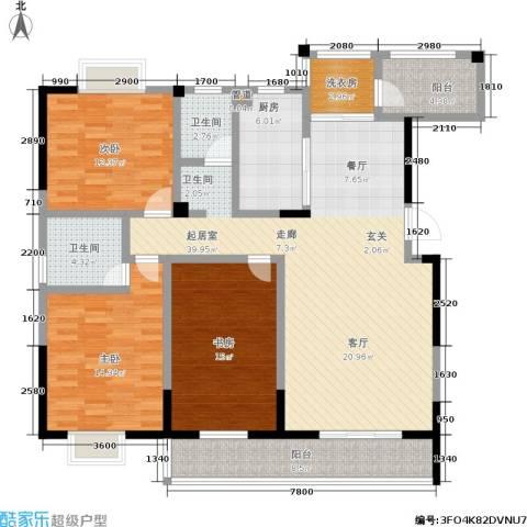 世纪桃花苑3室0厅2卫1厨159.00㎡户型图