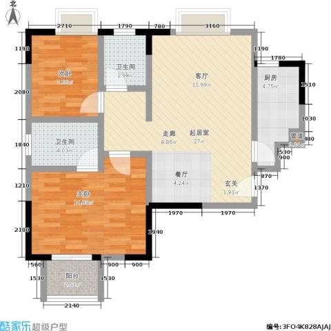 世纪桃花苑2室0厅2卫1厨91.00㎡户型图