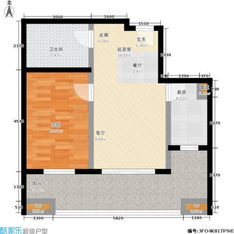 世纪桃花苑1室0厅1卫1厨81.00㎡户型图