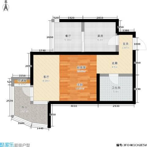 欧园北欧印象1厅1卫1厨58.00㎡户型图