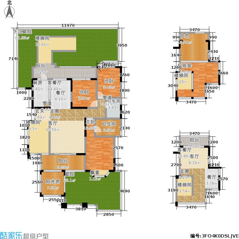保利中央峰景138.00㎡一期10栋、11栋首层中间C1户型