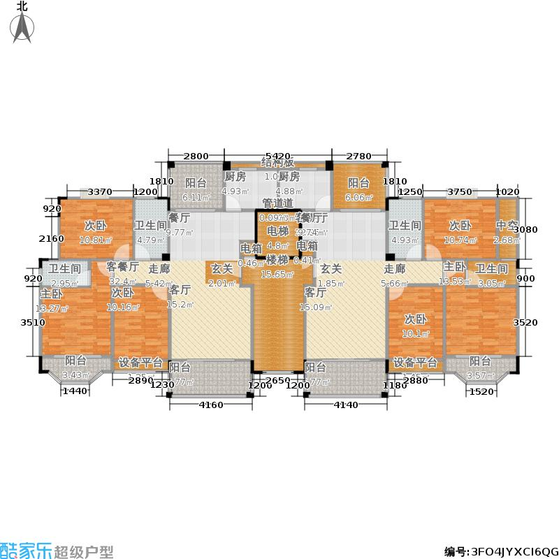 清水蓝湾238.70㎡洋房E1栋6层平层图户型