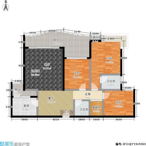 春天花园3室0厅2卫1厨106.00㎡户型图