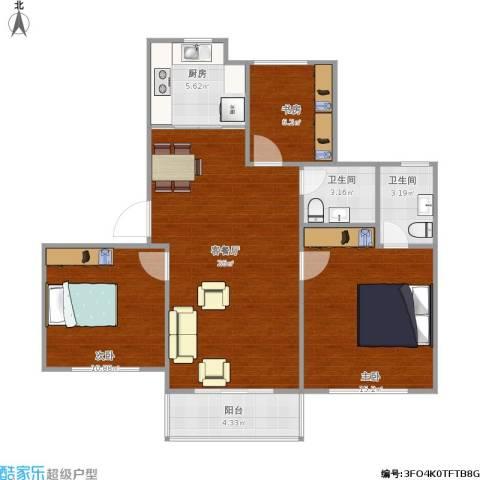 新顾村大家园B区3室1厅2卫1厨100.00㎡户型图