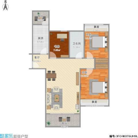 碧桂园 幸福里3室1厅1卫1厨120.00㎡户型图