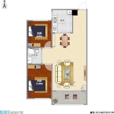 嘉惠第五园2室1厅1卫1厨95.00㎡户型图