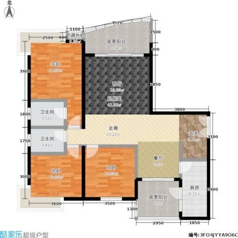 春天花园3室0厅2卫1厨108.00㎡户型图