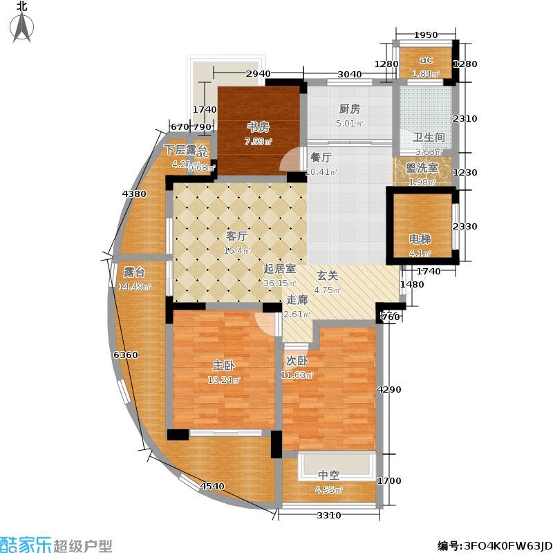 中凯东方红街109.33㎡四期3-B面积10933m户型