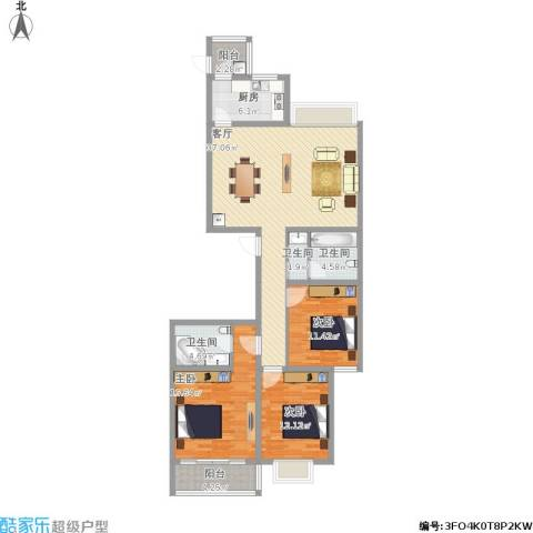 龙园小区D户3室1厅3卫1厨145.00㎡户型图