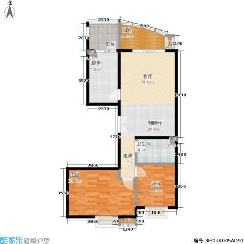 水上华城2室1厅1卫1厨110.00㎡户型图