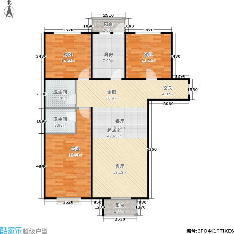 东·郦湖112.18㎡丽湖9号楼C户型3室2厅