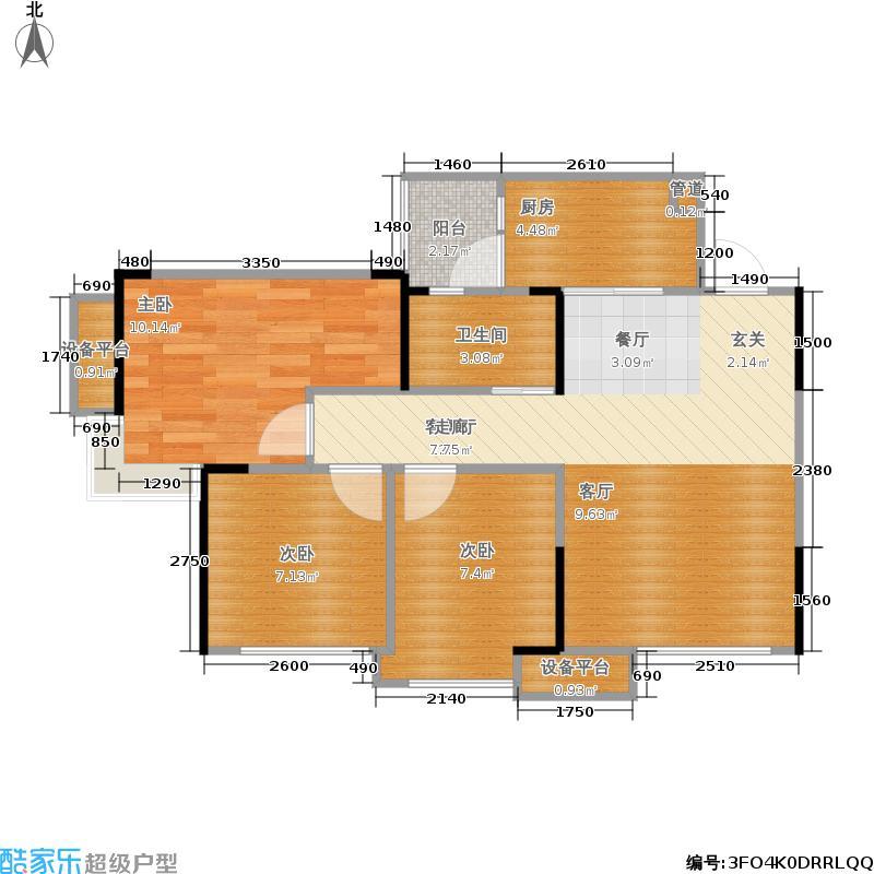 棠湖春天V客74.00㎡二期4、5号楼标准层D1户型