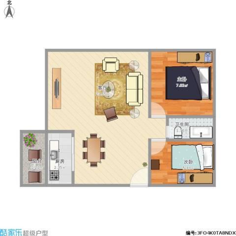 恒隆明珠2室1厅1卫1厨58.00㎡户型图
