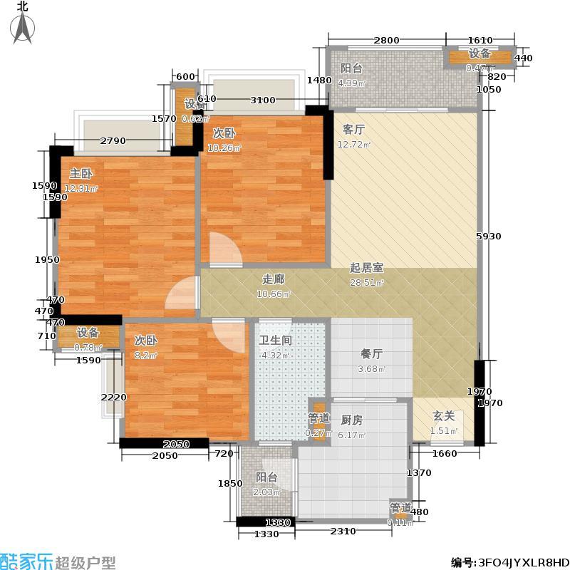 雅居乐万科热橙87.00㎡6、8栋四至十层0户型