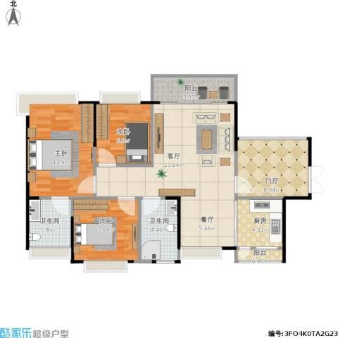 翡翠山湖三期臻萃园3室1厅2卫1厨103.00㎡户型图