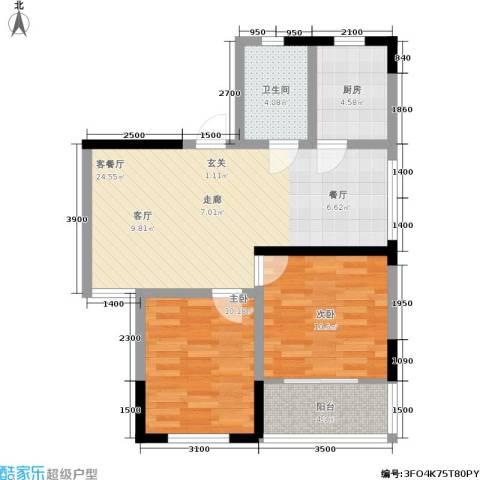 岳屏明珠苑2室1厅1卫1厨87.00㎡户型图
