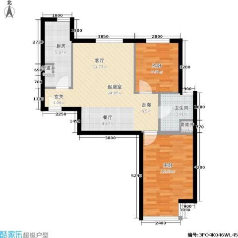 远洋沁山水2室0厅1卫1厨86.00㎡户型图