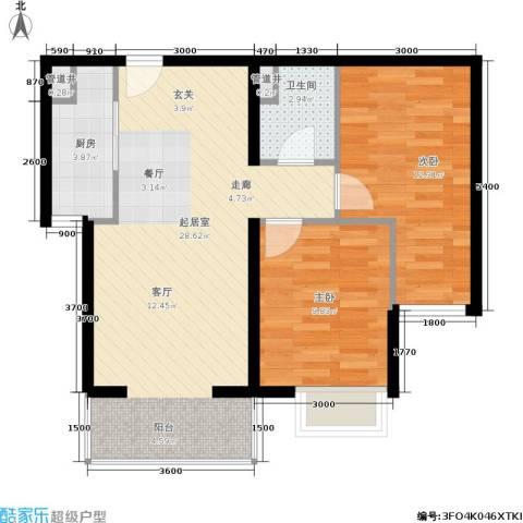 远洋沁山水2室0厅1卫1厨88.00㎡户型图