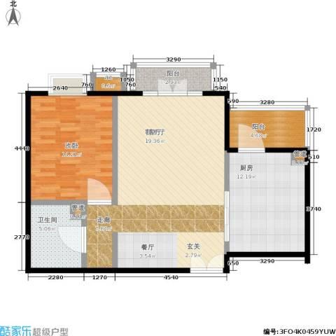 水上华城1室1厅1卫1厨83.00㎡户型图