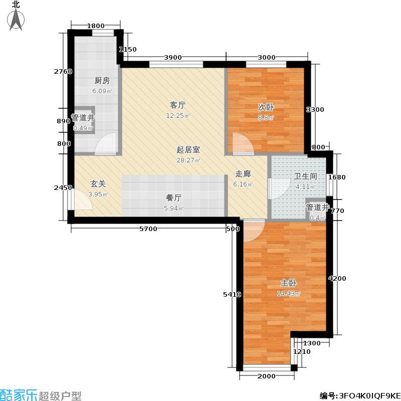 远洋沁山水89.00㎡7#楼B1反'户面积8900m户型