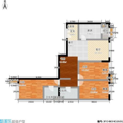 大西洋新城3室0厅2卫1厨141.00㎡户型图