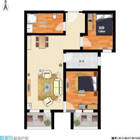 住总众邦·长安生活港2室1厅1卫1厨89.00㎡户型图