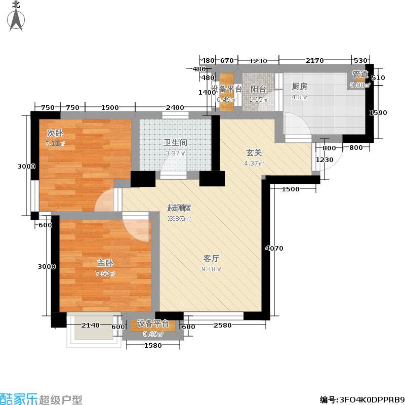 海亮爱金沙59.00㎡二期2号楼标准层E1户型
