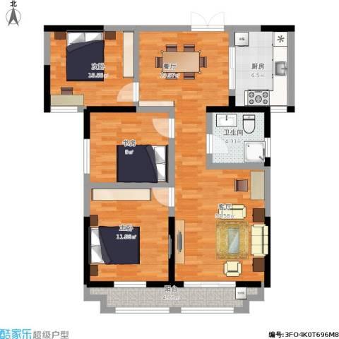 蓝鼎海棠湾3室1厅1卫1厨112.00㎡户型图