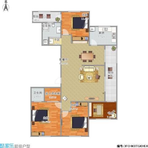 山大宿舍4室1厅2卫1厨168.00㎡户型图
